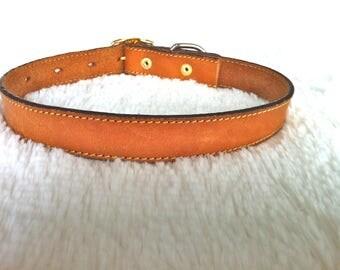 Tan Rawhide Leather Dog Collar/Medium Rawhide Leather Dog Collar/Upcycled Leather Dog Collar/Tan Leather Dog Collar/Rawhide Dog Collar