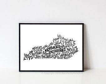Hand lettered KENTUCKY DISTILLERIES Word Art Print // 8x10