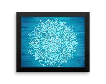 Framed Teal Mandala Art Print Yoga Meditation Mandala