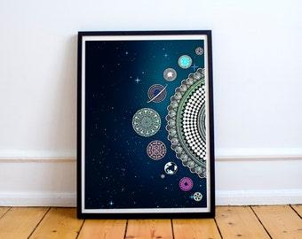 Planets Dark Blue Poster Bohemian Art Print Poster With Mandala Galaxy Design no frame 20x30 Large