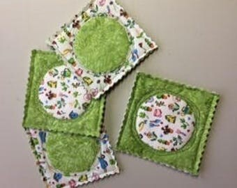Quilted Coasters SET OF 4 green batik and tiny gardening print
