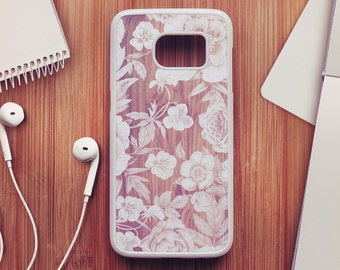 Wood Floral Samsung Galaxy S7 Case, Wood Floral Samsung Galaxy S6 Case, Floral Samsung Galaxy S5 Case, Floral Samsung Galaxy S4 Case