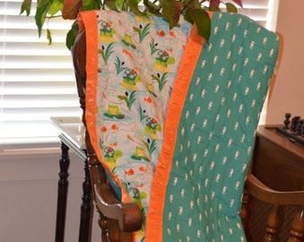 Baby Quilt - Frogs Away!