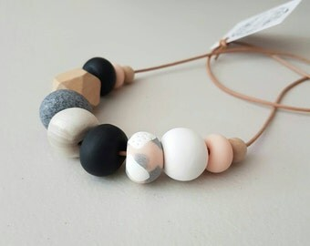Polymer clay beaded necklace /polymer clay jewellery/ clay necklace/ beaded necklace/ wooden necklace/