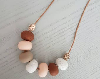 Clay necklace/ brown pink and white granite clay beaded necklace / polymer clay/ clay jewellery/ clay jewelry/ beaded necklace/