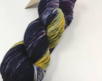 Dragon's Egg Indie Dyed Yarn on Merino cashmere Nylon MCN gold purple speckled  blue