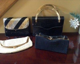 Vintage Purses - Vintage Clutch Purse and Handbags - Set of Four Vintage Evening Bags