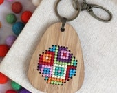 Cross Stitch Keyring Kit, Wooden embroidery kit, graphic cross stitch, Rainbow cross stitch