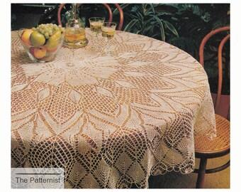 Circular Tablecloth Knitting Pattern Vintage Round 66 inch Diameter Apple Blossom Design PDF Instant Download SKU 15-7