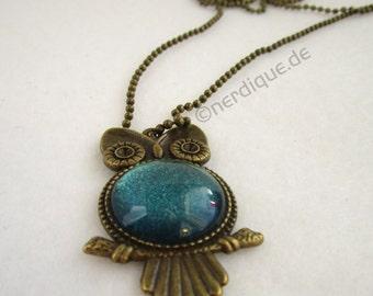 OWL necklace - turquoise metallic