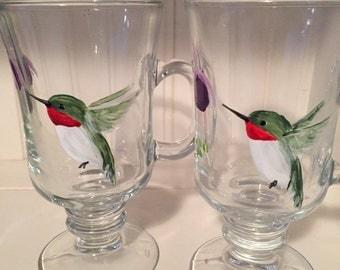 Hand Painted Hummingbird Irish Coffee Mug. Perfect Gift for Bird Lovers and Coffee Lovers