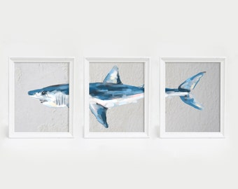 Mako Painting, Shark Wall Art, Shark Prints, Shark Art Prints, Mako Shark Print, Mako Shark Painting, Shark Painting, Set of Prints
