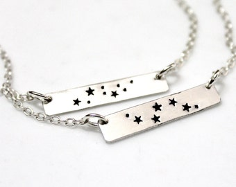 Capricorn Necklace, Sterling Silver Capricorn Charm, Silver Bar Necklace, Zodiac Jewelry, Astrology Necklace, Birthday Gift