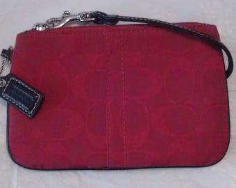 Vintage COACH Red Fabric/Canvas with Leather Trim Wristlet/Clutch