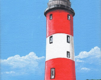 Smeaton's Tower - Plymouth Lighthouse - Original Acrylic Painting