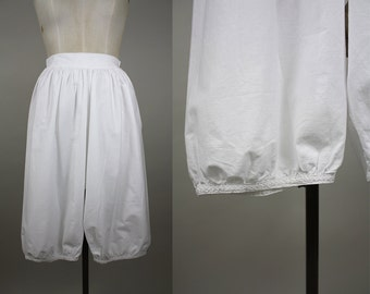 Victorian Cotton Bloomers / Edwardian Pantaloons / Closed Crotch / Hand Embroidered  / Button Back / Back Flap Opening / Size Small / XS - S