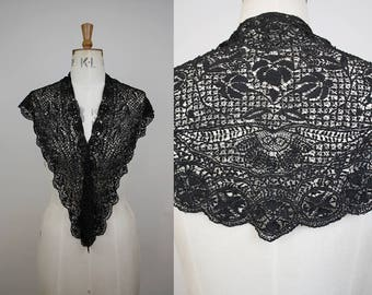 Victorian Lace Cape / Mourning Shawl / Lace Mantilla / Black Lace Collar / Edwardian Lace Capelet / Antique Lace / XS S M L