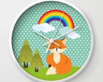 Kids Wall Clock - Fox And Rainbow Wall Clock , Nursery Clock , Wooden Wall Clock , Kids Room Decor , Children Clock , Kid Clock,