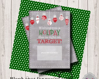Target Holiday Gift Card Printable - INSTANT DOWNLOAD - XMAS006 - holiday, gift card, teacher, student, co-worker, boss, gift idea