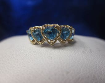 10K Yellow Gold Heart Shaped Blue Topaz Ring