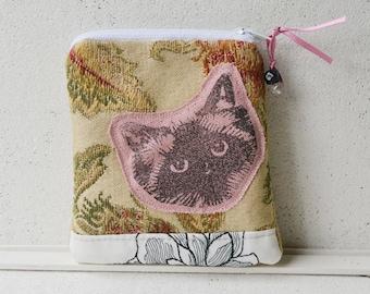 Small zipper purse Hand printed Birman Ragdoll Cat Face -- SECONDS SALE