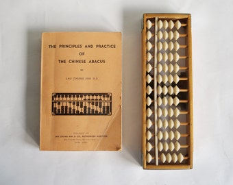 Abacus with Book Old Abacus with Instructions Manual Wood and Metal Abacus made in Hong Kong Abacus Manual