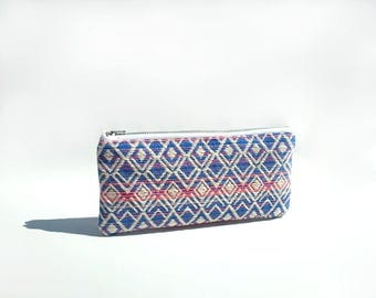 Cute pencil case, College student gift, Colorful small pouch, Blue and pink case, Boho pouch, Pencil pouch, Trousse, Pen holder, Stationary