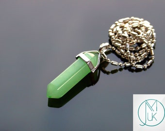 Green Aventurine Crystal Point Pendant Natural Gemstone Necklace Chakra Reiki Healing Stone FREE UK SHIPPING
