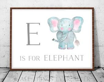 Letter E | Nursery Print | Kids room | Playroom Decor | Art | Elephant | Blue theme | children'a art | JW | Printable | baby room  boy girl