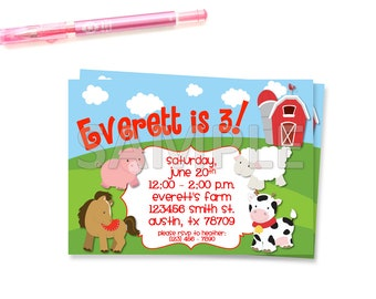 Farm Animals Birthday Party Invitation, Farm Animals Birthday Party, Farm Friends Birthday Party, Printable Farm Animals Invitation