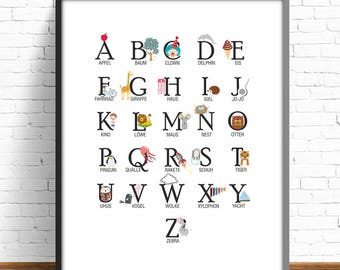 German alphabet, german abc, nursery decor, nursery prints, kids room decor, baby room, german letters, baby letters, print illustration