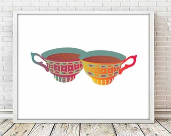 Cup print,cup tea ,cup coffee, wall art kitchen, wall art deco, printable,  coffe time, tea time, tea print, coffee print, kitchen art