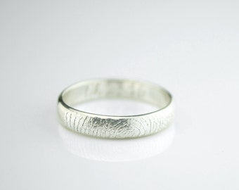 Actual Fingerprint Ring, Personalized Fingerprint Band, Custom Silver Memorial Jewelry, Engagement ring, 4mm Sterling Silver, Engraved Ring