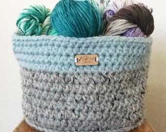 Extra Large Round Crocheted Basket, Large Basket, Large Handmade Basket