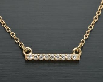 "Small Bar pendant with 9 diamonds  18"" chain."