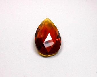 1 Amber Crystal Teardrop, 50mm, Amber, Crystal, Teardrop, Pendant, Bead Supply, Jewelry Making