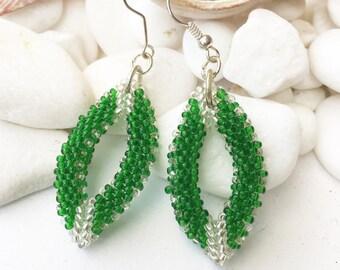 Leaf bead earrings, Green and silver bead leaf earrings, Leaves beading jewellery