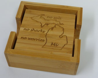 Personalized Wooden Coasters Laser Engraved, Michigan Themed, Mi State, Cute Michigan Bamboo Coasters