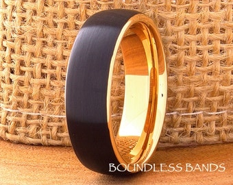 Tungsten Ring Rose Gold Black And Rose Tungsten Ring Mens Ring Mens Wedding Band 7mm His Hers Comfort Fit Anniversary Promise Wedding Ring