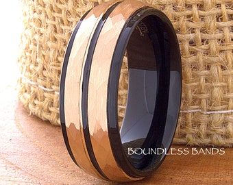 Tungsten Ring Rose Gold Plated Wedding Band Hammered Tungsten Carbide 8mm Tungsten Ring Mans Tungsten Wedding Ring Anniversary Tungsten Ring