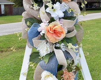 Spring Door Swag, Peach and Blue Door Swag, Cabbage Roses Door Hanger, Burlap Door Swag, Summer Floral Swag,