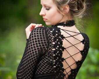 little black dress, lace dress, black lace dress, croched black dress,open back dress