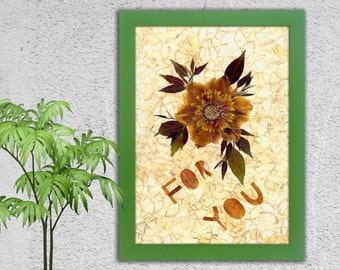 Dried Flowers, Anniversary Gift, Dried Flower, I Love Wou, Wedding, Flowers, Floral, Pressed Flowers Heart Love Pressed Flower Birthday gift