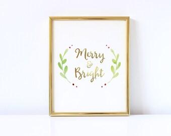 Merry Christmas, Holiday Printable, Christmas, Holly, Merry & Bright, Holiday Print, Christmas Decor, Gold, Wall Art, Watercolor Christmas