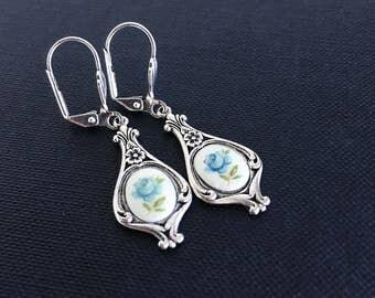Blue Rose Dangle Earrings, Vintage Style Art Nouveau Blue Flower Earrings, Antiqued Silver Plated Art Deco Earrings