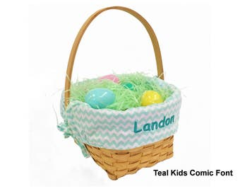 Personalized Woodchip Easter Basket - Mint Chevron, Large