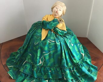 Large Vintage Russian Tea Cozy Doll / The Tea Soaker , Cloth Soviet Union Tea Cozy stockinette doll, w/ Green Dress