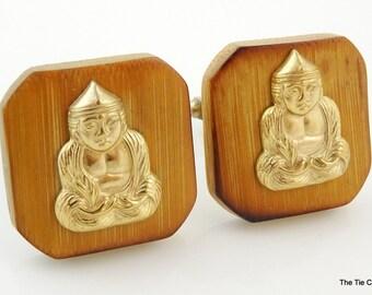 Vintage Cufflinks Wood Praying Buddha Wooden