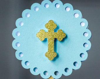 Blue and Gold Baptism First Communion Cupcake Toppers
