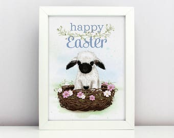 Easter Print Baby Blacknose Lamb Poster  Card Happy able Nursery Poster Adorable Baby Farm Animal Floral Nest Spring Print